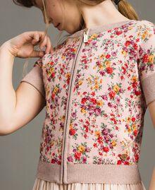 Cardigan-Pullover aus Lurex mit Blumenmuster Motiv Miniblumen Kind 191GJ3050-04