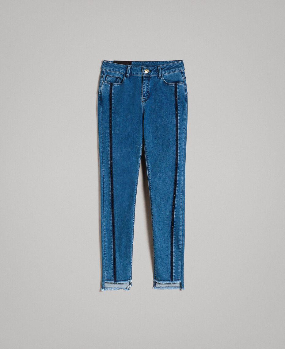 Jean skinny avec découpes ornées de strass Bleu Denim Femme 191MT2461-0S