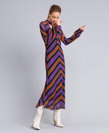 Maxikleid aus Georgette mit Streifen Streifenprint mehrfarbig Frau TA8294-02