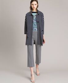 Unlined striped coat Off White / Blue Shadow Striping Woman 191ST2030-01