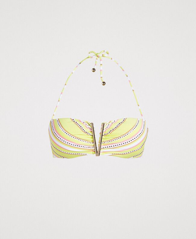 "Striped bandeau bikini top with rhinestones ""Bronze"" Brown / ""Lemon Juice"" Yellow Multicolour Striping Woman 191LBMA11-01"