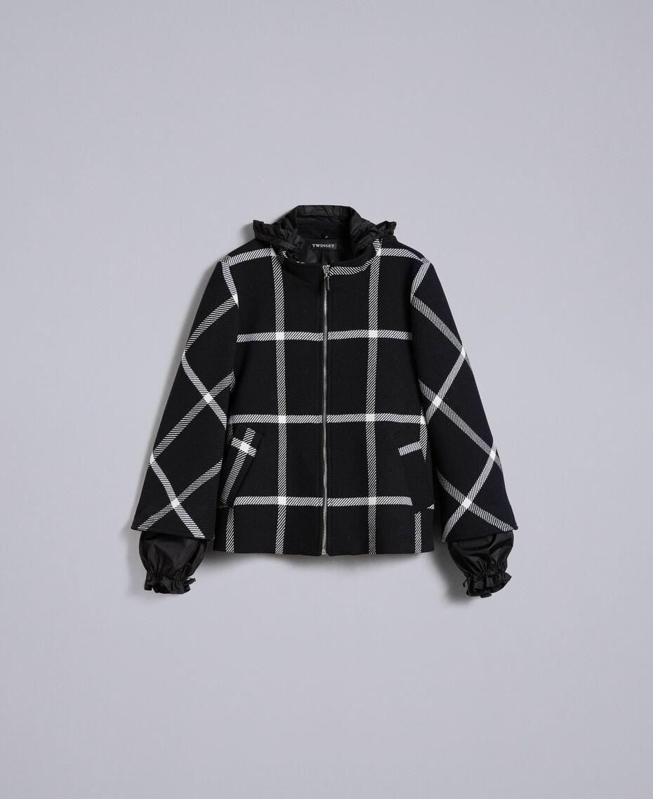 Manteau court en drap à carreaux Bicolore Carreaux Noir / Blanc Neige Femme PA826Y-0S