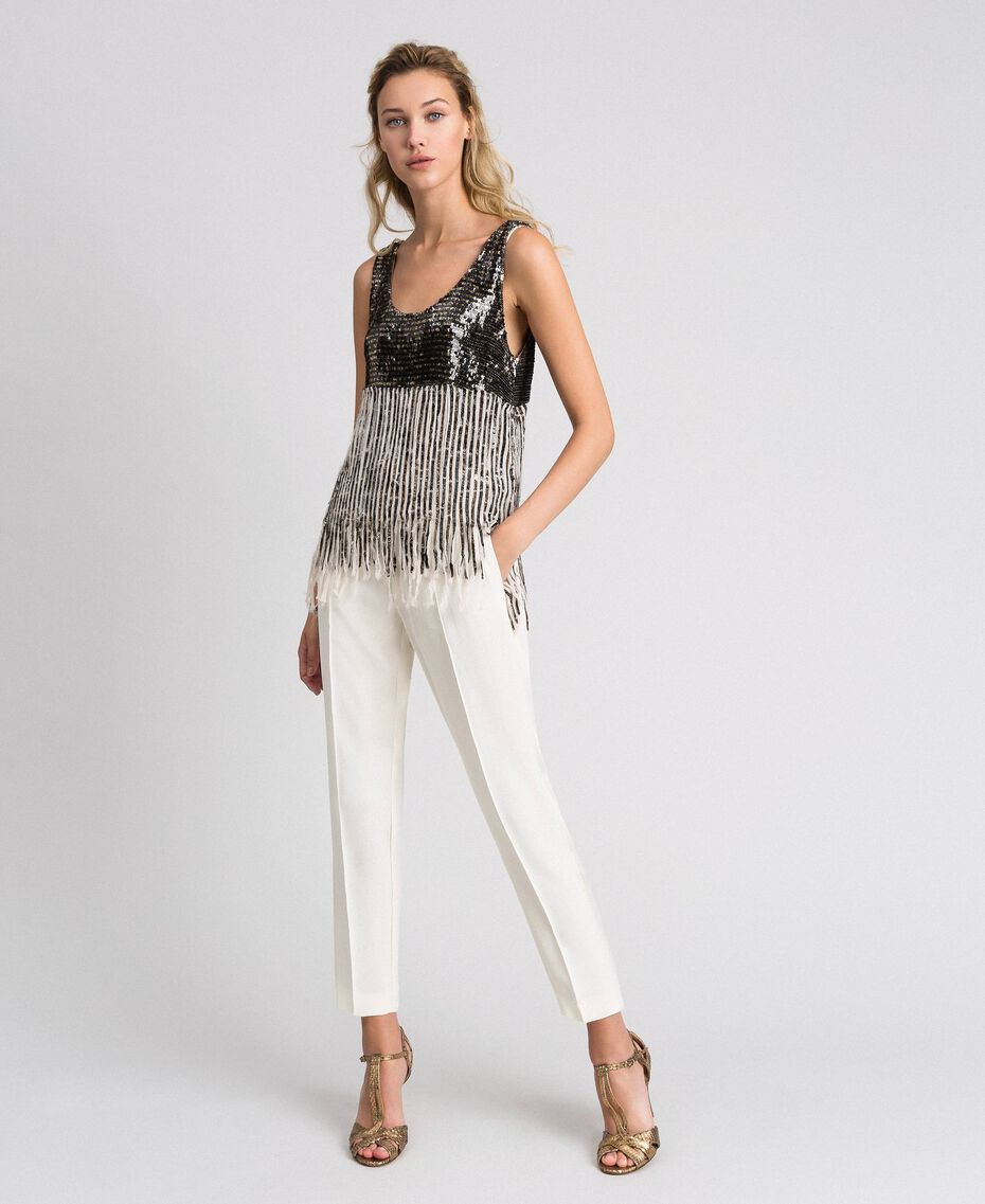 Georgette top with sequins and fringes Dark Gold Sequin Embroidery Woman 192TT2480-01