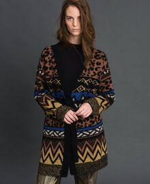 Cardigan en laine et mohair avec motifs jacquard Jacquard Mélange Géométrique Animalier Femme 192ST3191-03