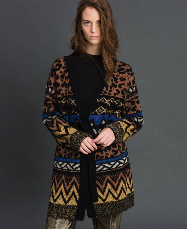 Wool and mohair cardigan with jacquard patterns Geometric Animal Print Mix Jacquard Woman 192ST3191-03