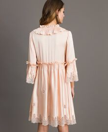 "Silk satin dress with lace trims ""Rose Sand"" Pink Woman 191TT2010-03"