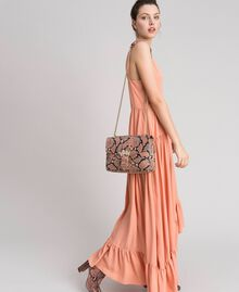 Large Rebel shoulder bag with python print Mousse Pink Python Print Woman 192TA7230-0S