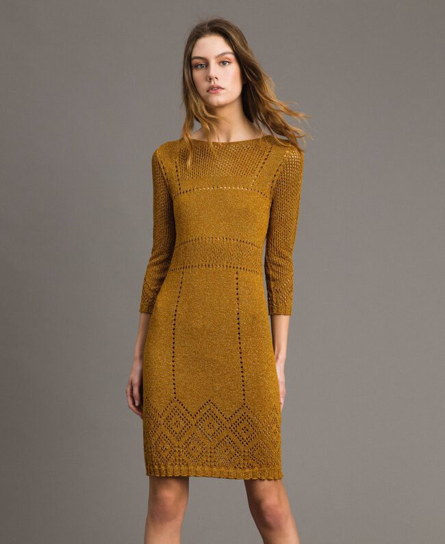 "Openwork lurex dress ""Golden Oak"" Gold Lurex Woman 191TT3111-01"