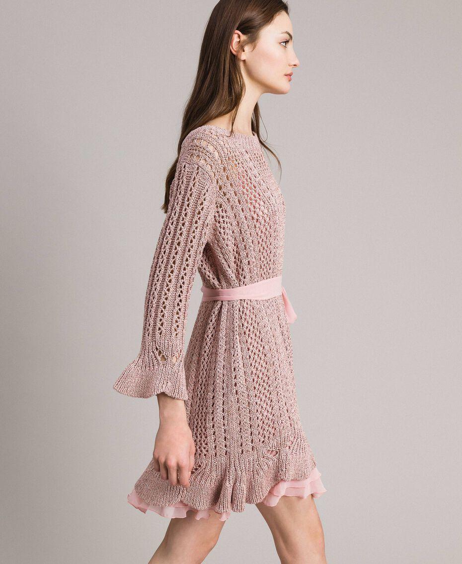 Lurex-Strick-Kleid Pearl Pink Lurex Frau 191TP3350-03