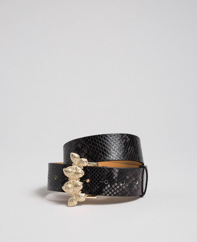 Regular-Fit-Gürtel aus Leder mit Pythonprint Pythonprint Anthrazitgrau Frau 192TA4308-01