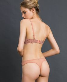 Lace and tulle G-string Peach Rose / Black Woman 192LI6488-03
