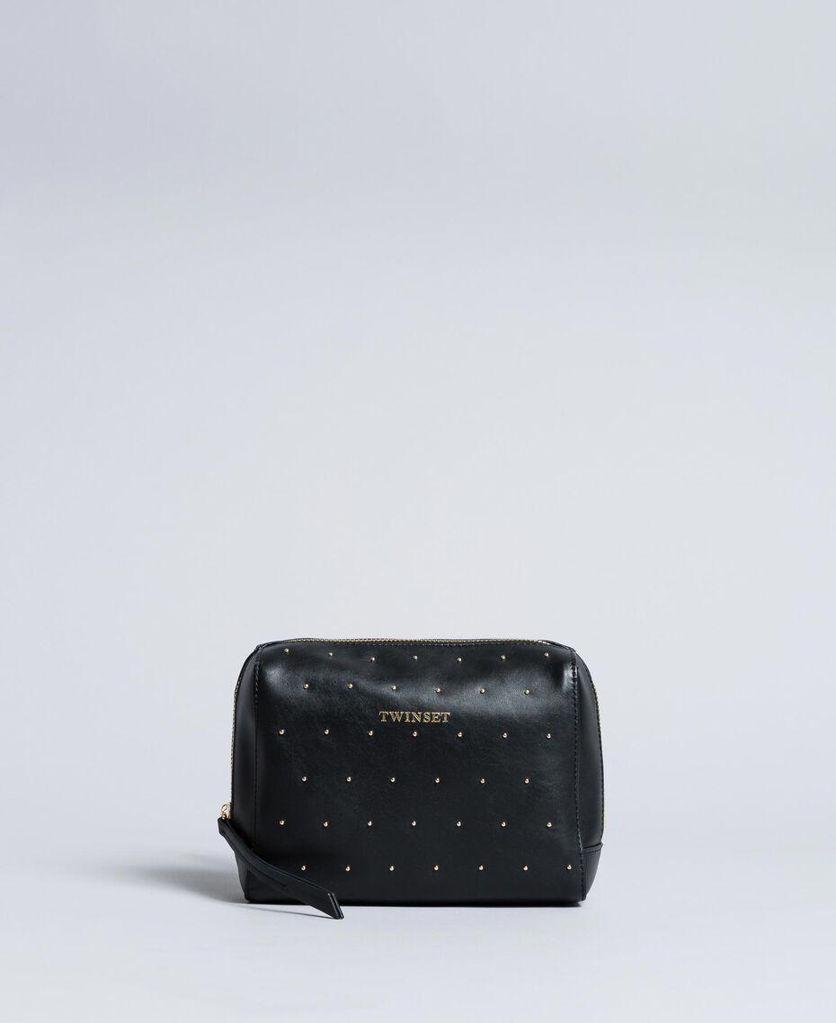 Kosmetiktasche aus Leder mit Nieten Schwarz Frau AA8PA2-02