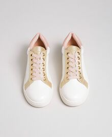 Faux leather trainers with satin laces Ivory Woman 192LIPZCC-04