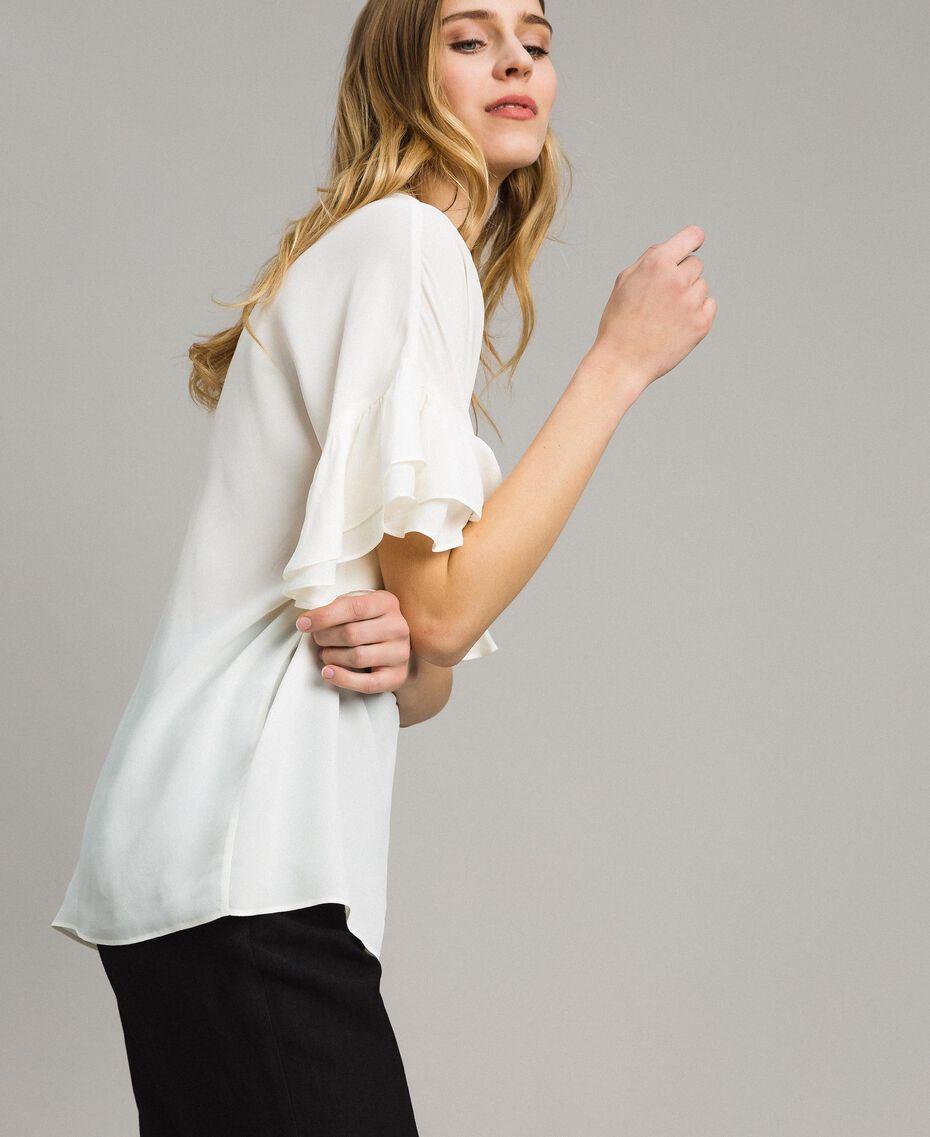 Bluse aus Seidenmischung Weiß Schnee Frau 191TT2075-02