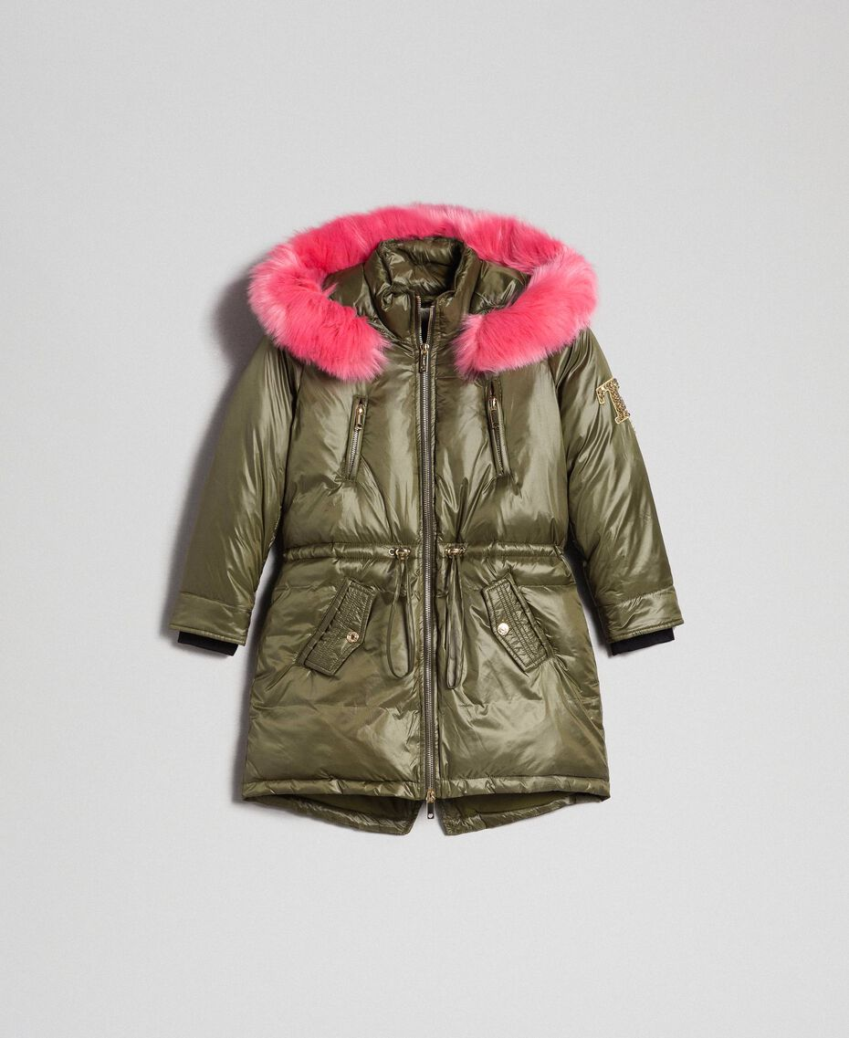 Hooded puffer jacket with faux fur Alpine Green Child 192GJ2072-0S