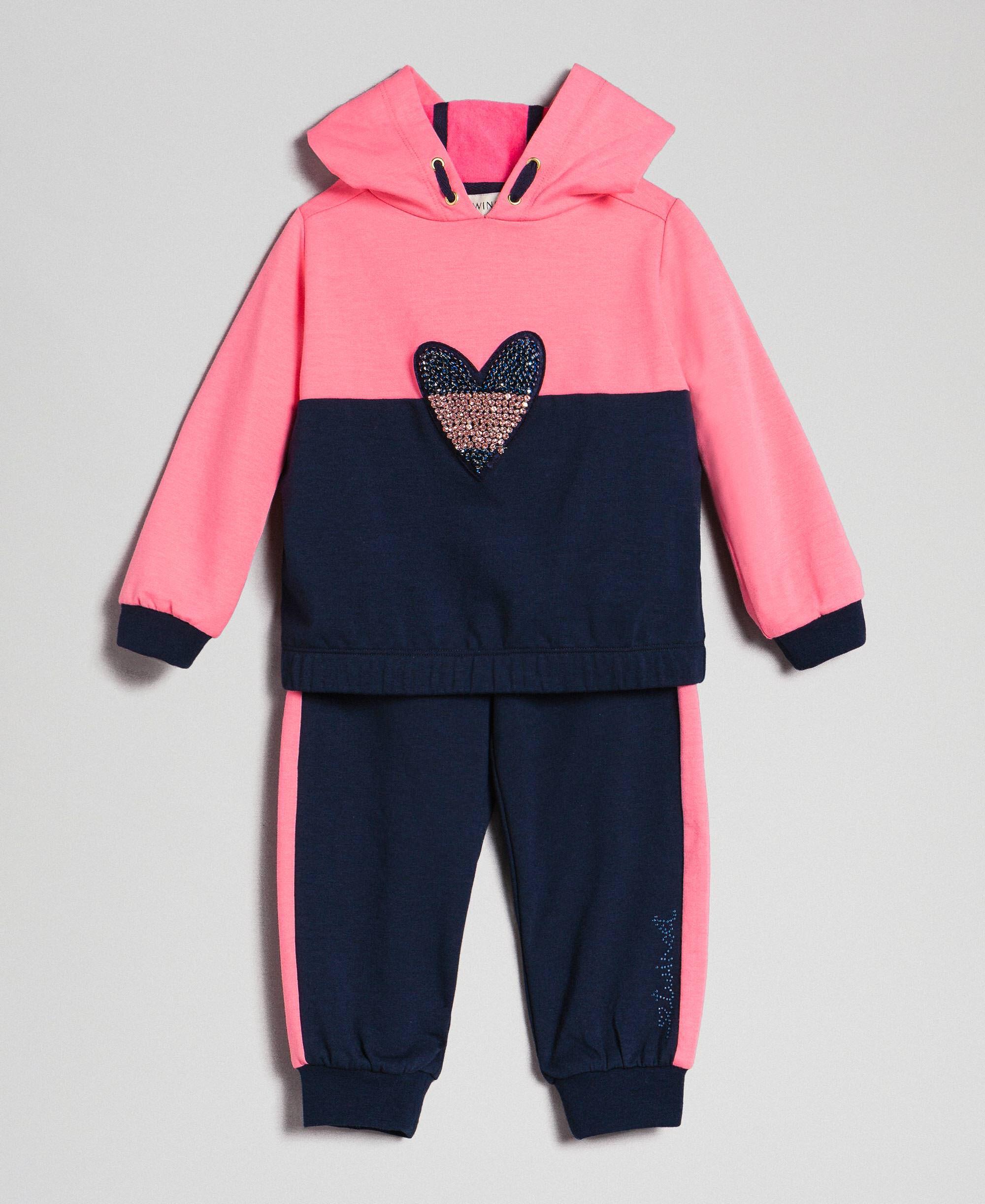 Sweat avec patch cœur et pantalon de jogging Enfant, Bleu | TWINSET Milano