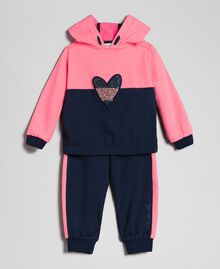 "Heart patch sweatshirt and jogging trousers Night Blue / ""Candy"" Pink Child 192GB2660-01"