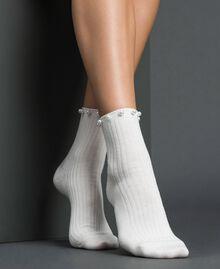 Chaussettes avec perles Blanc Papyrus Femme 192TA432B-0S