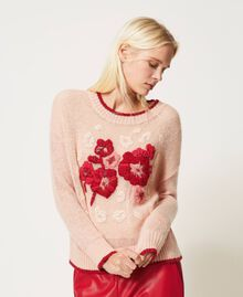 Mohair blend jumper with floral embroidery Peach Woman 202TP3430-04