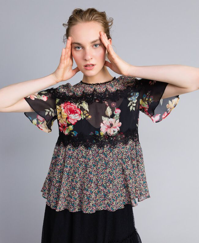 "Bluse aus Georgette mit Blumenprint Print ""Flower Patch"" Frau PA82MH-01"