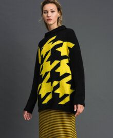 Mohair blend maxi jumper with inlay Black / Yellow Woman 192MT3250-05