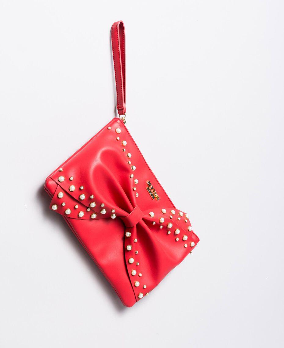 Pochette en similicuir avec nœud Rouge Coquelicot Femme VA8PB5-02