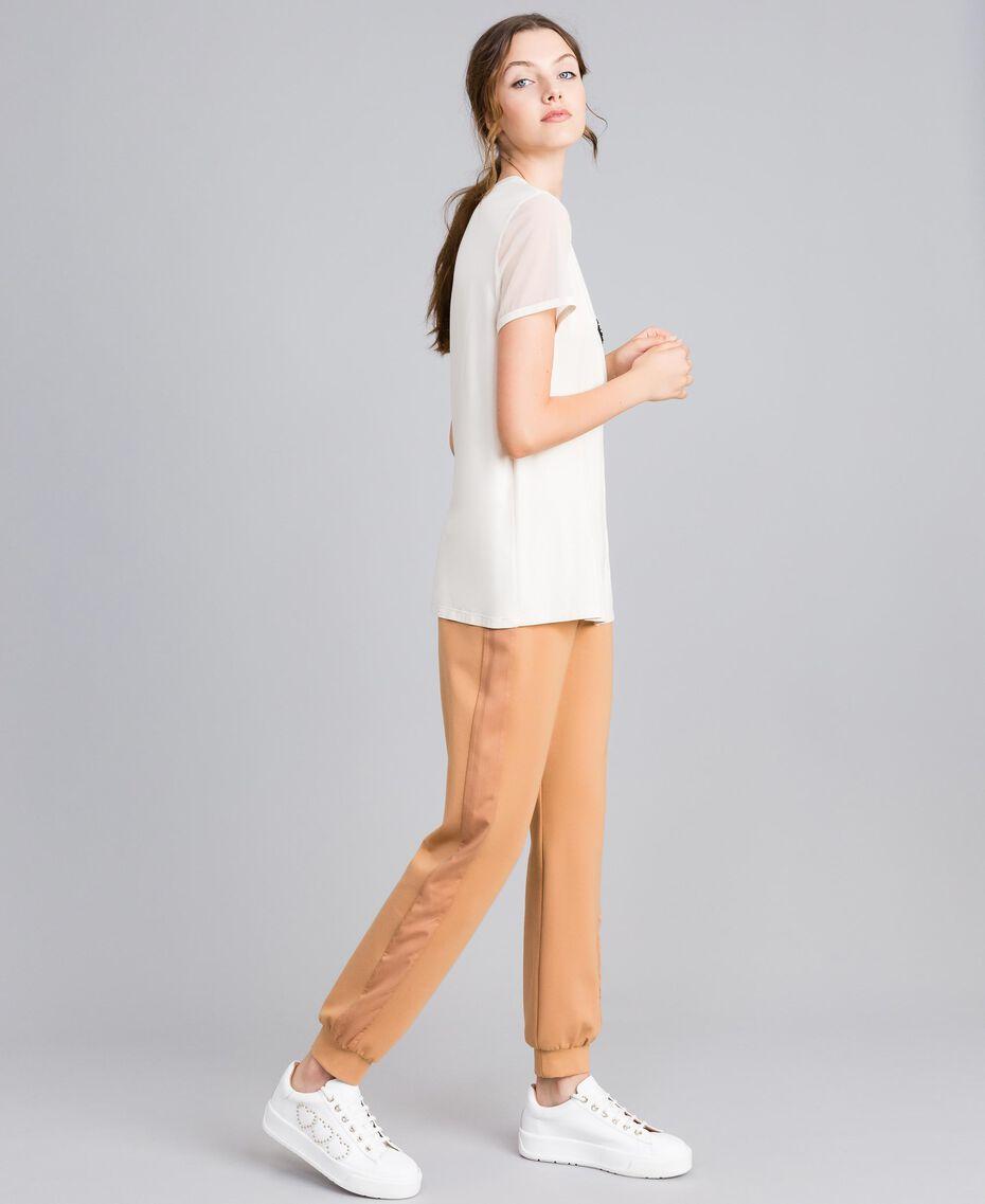 T-Shirt aus Jersey mit Stickerei Weiß Frau IA86KK-02