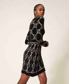 Robe en maille jacquard avec motif de chaînes Jacquard Chaîne Noir Femme 202TT3161-03
