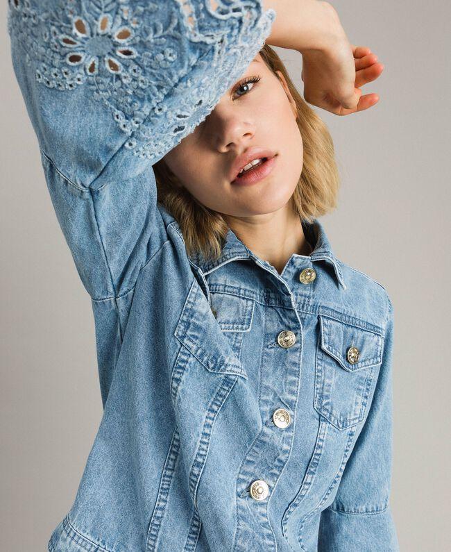 Blouson slim en jean avec broderie anglaise Bleu Denim Femme 191MP2430-04