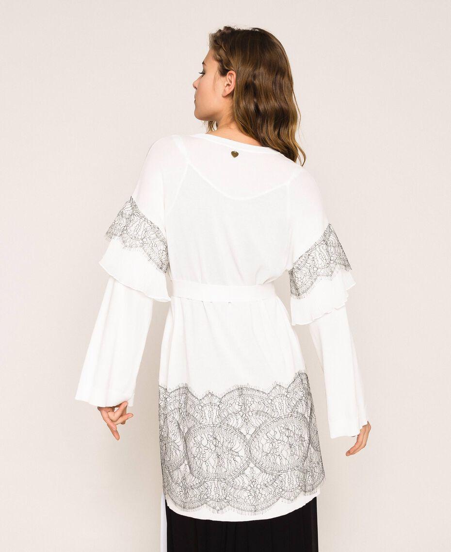 Maxi cardigan avec dentelle bicolore et plissé Blanc Antique White Femme 201TT3140-03