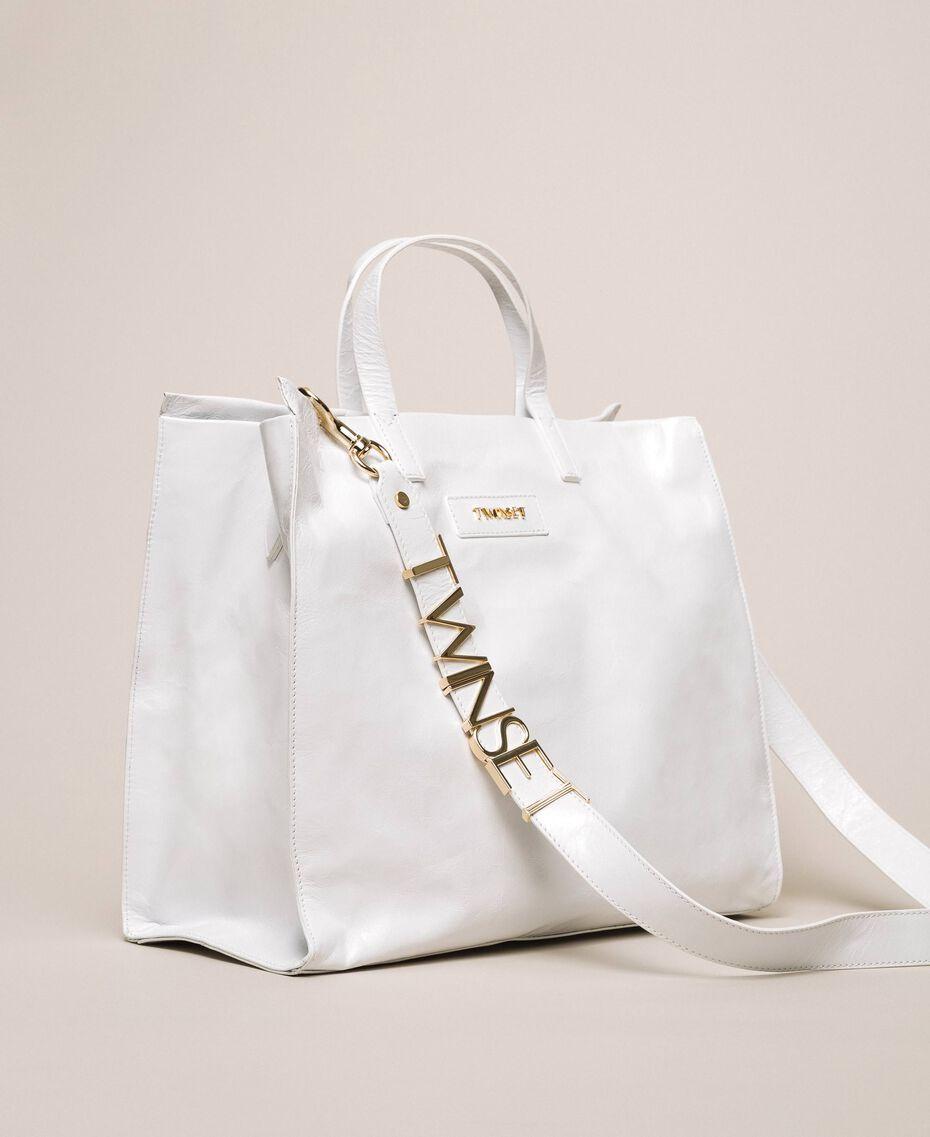 Borsa shopper in pelle con logo Bianco Neve Donna 201TA7090-02