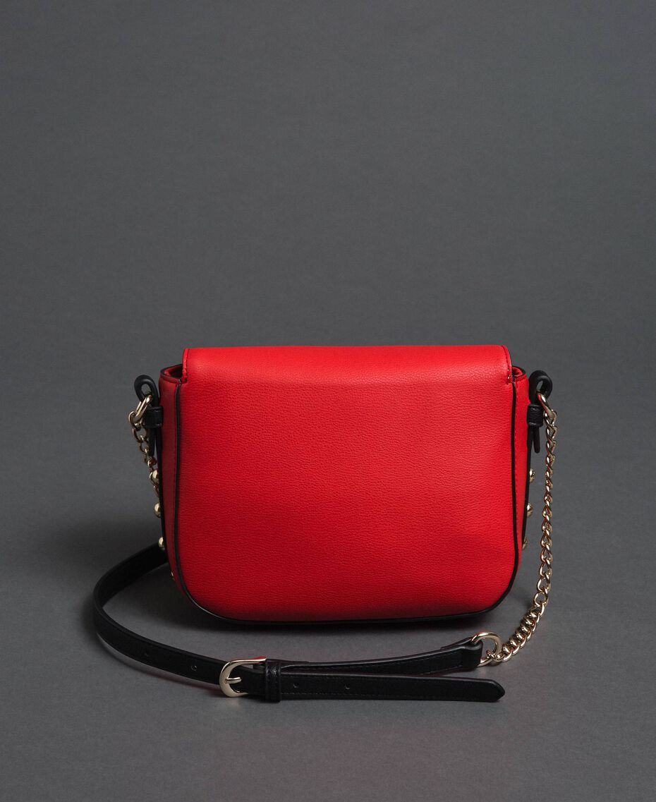 Two-tone faux leather shoulder bag with studs Poppy Red / Pale Pink Woman 192MA7103-03