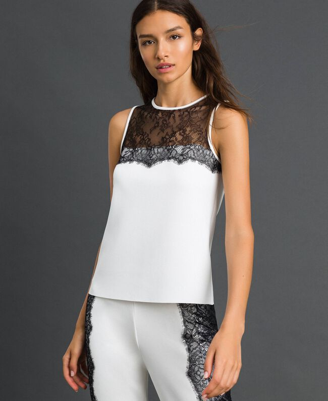 Scuba top with lace Ivory Woman 192LI2WDD-01