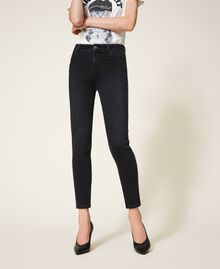 Push up jeans with chain and rhinestones Black Denim Woman 202MP2420-02