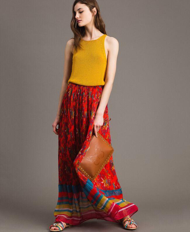 Floral print chiffon long skirt Multicolour Chiné / Grenadine Striping Woman 191TT2362-0T