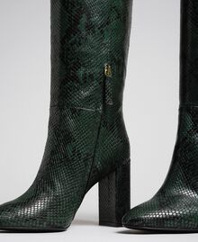 Leather high boots with animal print Dark Green Python Print Woman 192TCP108-04