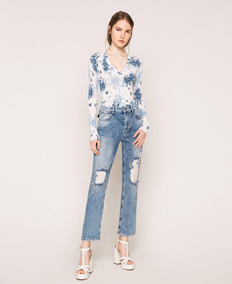 Jeans con rotture e ricami Denim Blue Donna 201MT2266-01