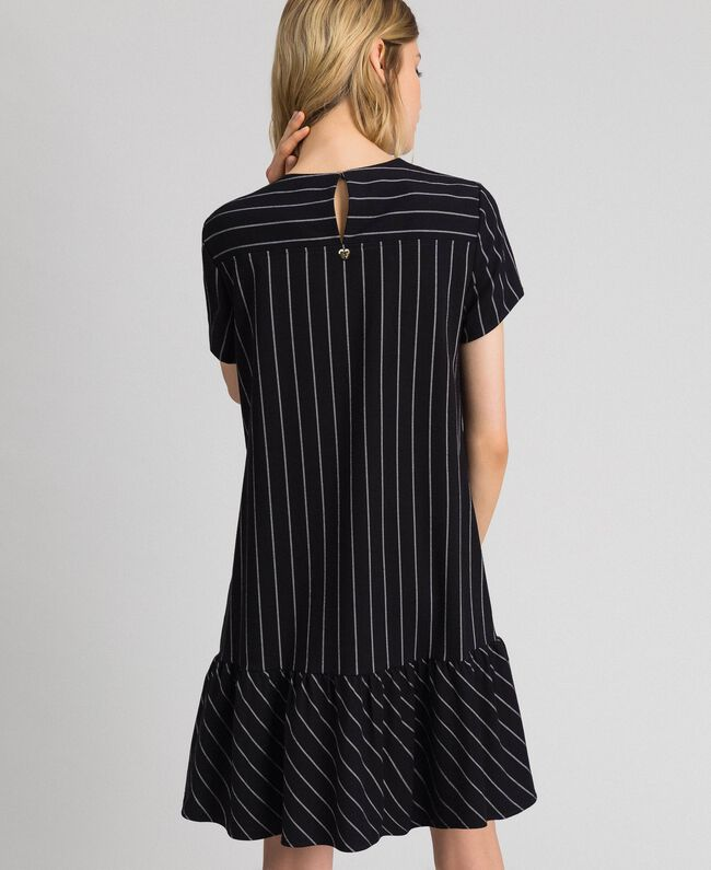 Pinstripe dress with flounce Black / Lily Pinstripe Woman 192MP2062-03