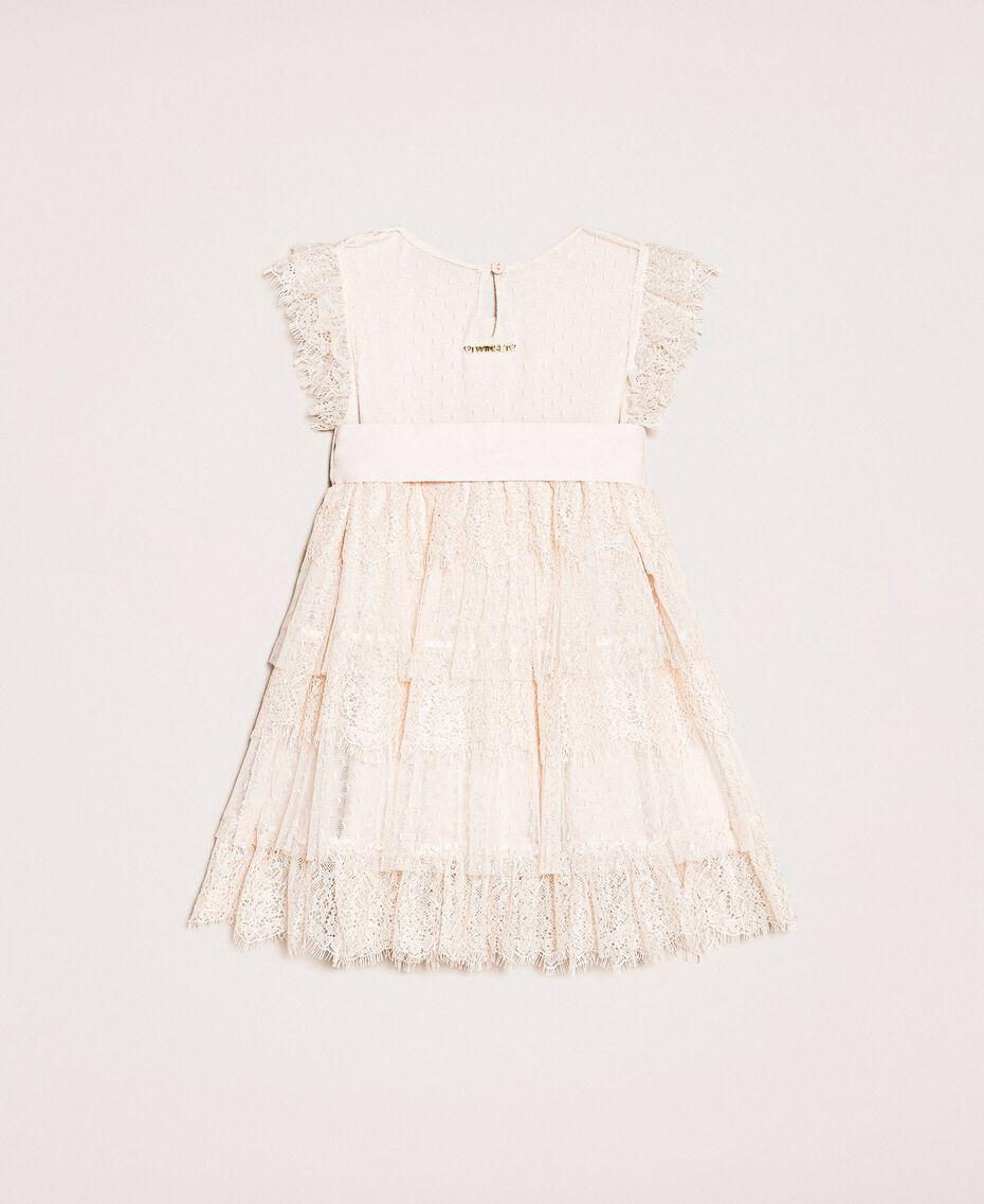 Kleid aus Tüll und Spitze mit Volants Blütenknospenrosa Kind 201GB2Q8A-0S
