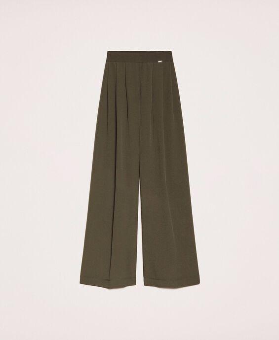 Crêpe de Chine wide trousers
