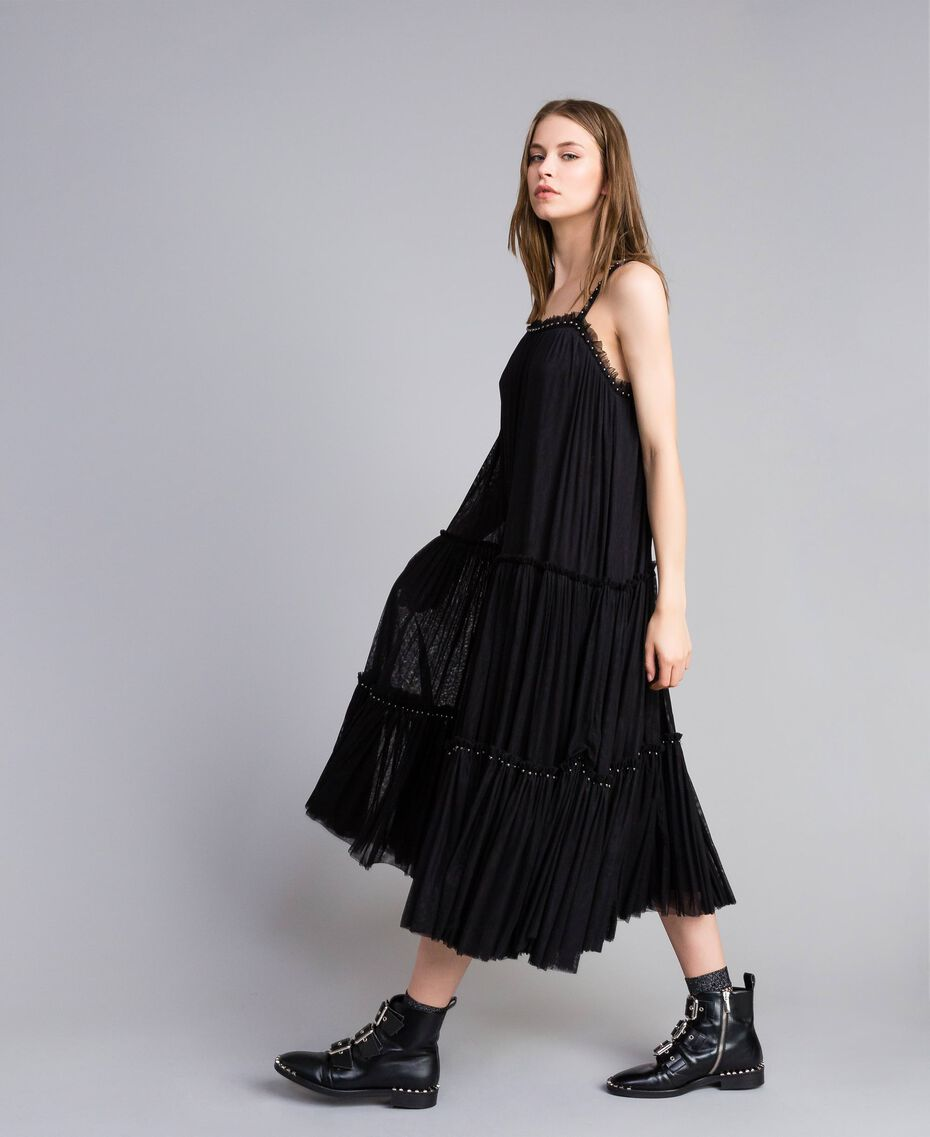 Kleid aus Tüll mit Volants Schwarz Frau JA82MA-02