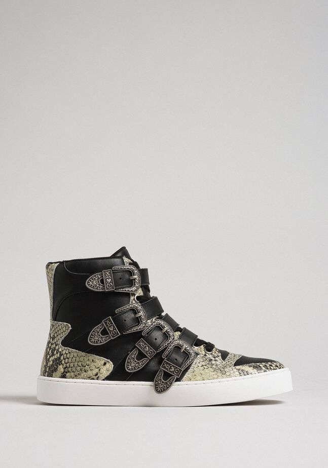 High top trainers with straps and animal print inlays