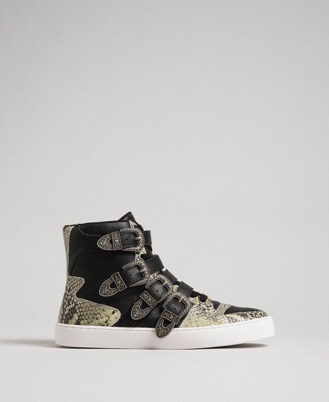 Sneakers alte con cinturini e inserti animalier Nero Donna 192TCT080-01