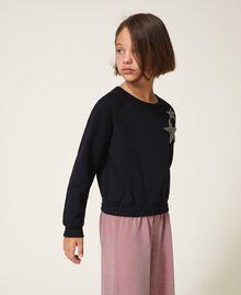Sweatshirt mit Sternstickerei Schwarz Kind 202GJ261B-02
