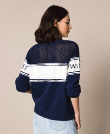 """Jumper with plush and logo inlay Two-tone Night Blue / """"Snow"""" White Woman 201TP3201-04"""