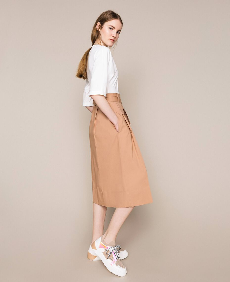 Robe mi-longue avec jupe en popeline Bicolore Blanc Optique / Marron Clair Femme 201ST2023-02