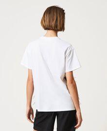 T-Shirt mit Federn und Strass Optisches Weiß / Schwarz Frau 211MT2600-04