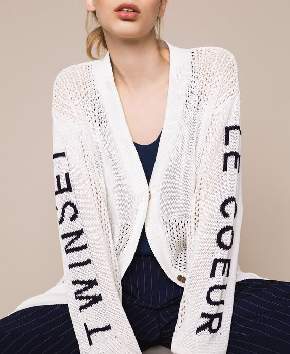 Maxi openwork cardigan with logo