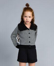 Cardigan en laine mélangée rayée Bicolore Noir / Blanc Cassé Enfant GA83KA-0S