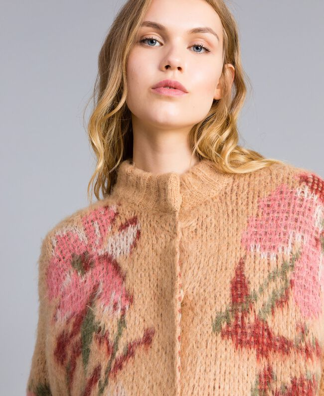 """Cappotto in mohair jacquard Jacquard Fiorato Beige """"Cookie"""" Donna TA831N-04"""